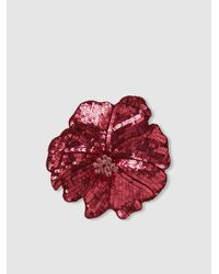 Racil - Red Flower Sequinned Brooch - Lyst