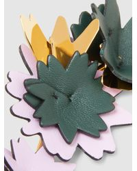 Marni - Metallic Gold And Leather Floral Brooch - Lyst
