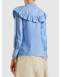 Vivetta - Blue Nashville Dream Striped Bib Detail Cotton Blouse - Lyst