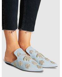 Sanayi 313 - Blue Ragno Embroidered Grosgrain Slippers - Lyst