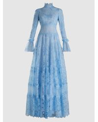 Costarellos - Blue Chantilly Lace Long-sleeve Gown - Lyst