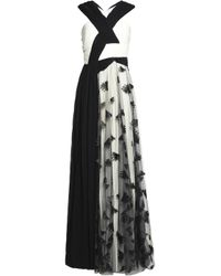 Vionnet - Black Embroidered Tulle And Pleated Chiffon Gown - Lyst