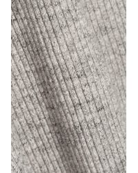 James Perse - Ribbed Stretch-cotton Skirt Light Gray Size 0 - Lyst