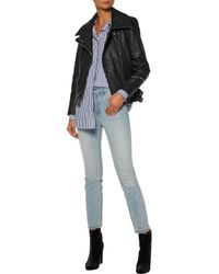 IRO - Woman Julyet Faux Textured-leather Biker Jacket Black Size 40 - Lyst