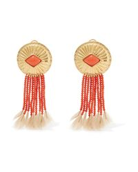 Aurelie Bidermann - Multicolor Gold-plated, Coral And Feather Clip Earrings - Lyst