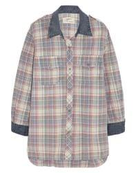 Current/Elliott - Gray The Perfect Plaid Cotton Shirt - Lyst