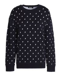 DKNY - Blue Two-tone Knitted Sweater - Lyst