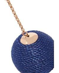 Kenneth Jay Lane   Blue Gold-tone Cord Earrings   Lyst