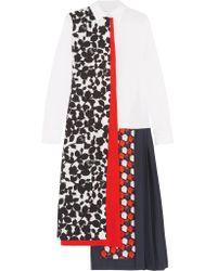 Victoria, Victoria Beckham - White Structured Flower Print Dress - Lyst