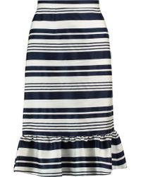 RED Valentino | Blue Stripe Ruffle-trimmed Faille Skirt | Lyst