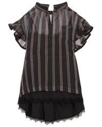 Sacai | Black Ruffled Striped Silk-organza Top | Lyst