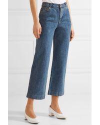 A.P.C. | Blue Sailor Cropped High-rise Wide-leg Jeans | Lyst