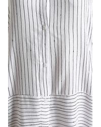 DKNY - Woman Striped Twill Nightshirt White - Lyst