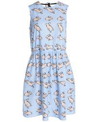 Markus Lupfer - Blue Pleated Printed Cotton-poplin Dress - Lyst