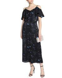 Rachel Zoe - Black Cold-shoulder Ruffled Floral-print Silk-satin Jumpsuit - Lyst