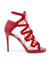 Jimmy Choo - Red Dani Leather, Suede And Pvc Sandals - Lyst