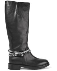 Moschino - Black Embellished Leather Boots - Lyst