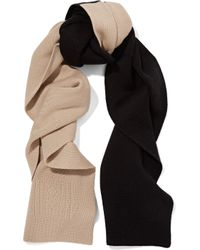 Totême  - Black Elvas Two-tone Merino Wool And Cotton-blend Scarf - Lyst