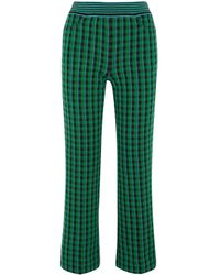 Missoni - Green Checked Wool-blend Bootcut Pants - Lyst