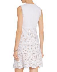 Stella McCartney - White Aline Broderie Anglaise Cotton Mini Dress - Lyst