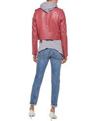 Muubaa - Pink Collumba Cropped Leather Biker Jacket - Lyst