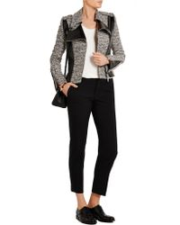 Bouchra Jarrar - Black Wool-blend Tweed And Faux Patent-leather Jacket - Lyst