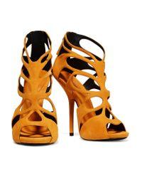 Giuseppe Zanotti - Orange Cutout Suede Sandals - Lyst