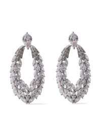 CZ by Kenneth Jay Lane - Metallic Woman Silver-tone Crystal Earrings Silver - Lyst