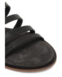 Brunello Cucinelli - Black Bead-embellished Leather Sandals - Lyst
