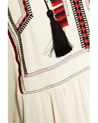 Étoile Isabel Marant - Natural Clara Embroidered Crepe Mini Dress - Lyst