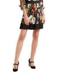 Dolce & Gabbana Pleated Floral-print Silk-blend Mini Skirt Black
