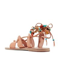 Ancient Greek Sandals - Multicolor Amaryllis Embellished Lace-up Leather Sandals Sand - Lyst