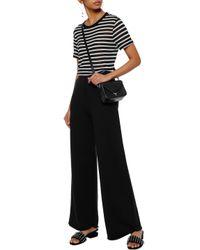 T By Alexander Wang - Black Mélange Cotton-blend Jersey Wide-leg Pants - Lyst