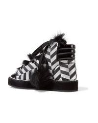 Nicholas Kirkwood - Polly Neige Shearling-trimmed Metallic Canvas High-top Sneakers - Lyst