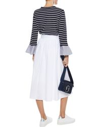 CLU - Blue Woman Poplin-trimmed Striped Cotton-blend Jersey Top Navy - Lyst