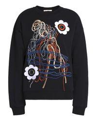 Christopher Kane - Black Floral-appliquéd Embroidered Cotton-blend Terry Sweatshirt - Lyst