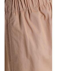 Ganni Natural Cotton-twill Wide-leg Pants