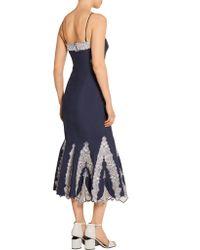 Jonathan Simkhai - Blue Embroidered Cotton-poplin Dress - Lyst