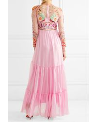 Temperley London - Pink Chimera Embroidered Tulle And Silk-blend Maxi Dress - Lyst