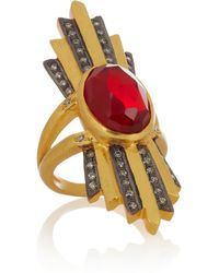 Kevia - Metallic - Gold-plated, Ruby And Cubic Zirconia Ring - Lyst