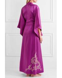 Carine Gilson - Purple Lace-trimmed Silk-twill Kimono - Lyst