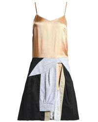 Koche - Multicolor Koché Woman Paneled Satin, Jersey And Twill Mini Dress Sand - Lyst