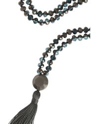 Iam By Ileana Makri - Black Oxidized Silver And Crystal Tassel Necklace - Lyst