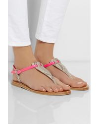 K. Jacques - Multicolor Coriolan Snake-Effect And Neon Patent-Leather Sandals - Lyst