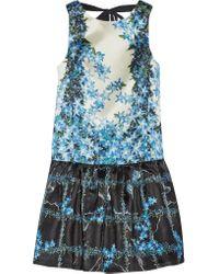 Tibi | Blue Sidewalk Floral-print Silk-gazar Mini Dress | Lyst