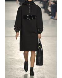 Christopher Kane   Black Patent Leather-trimmed Neoprene Hooded Dress   Lyst