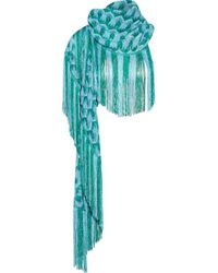 Missoni | Blue Metallic Fringed Crochet-knit Scarf | Lyst