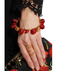 Dolce & Gabbana - Red Gold-plated, Resin And Woven Bangle - Lyst