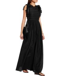 Vanessa Bruno - Black Eurasia Ruffled Cotton And Silk-blend Voile Maxi Dress - Lyst