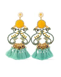 Elizabeth Cole - Yellow Tasseled Gold-tone, Crystal And Stone Earrrings - Lyst